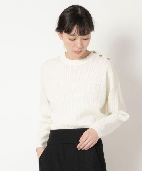 NIMES / ニーム ニット・セーター | ミニケーブル肩釦プルオーバー(オフ)
