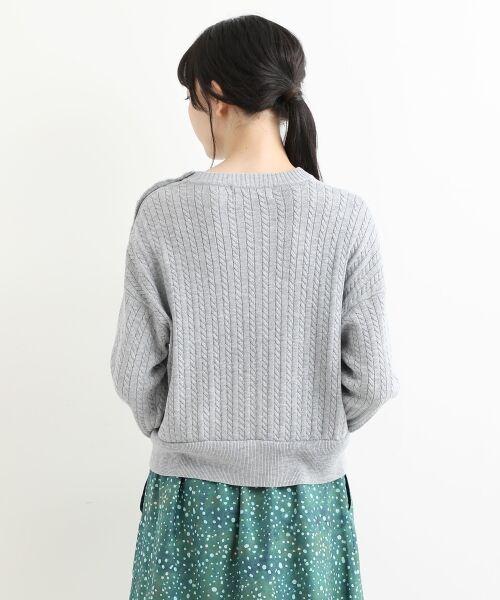 NIMES / ニーム ニット・セーター | ミニケーブル肩釦プルオーバー | 詳細3