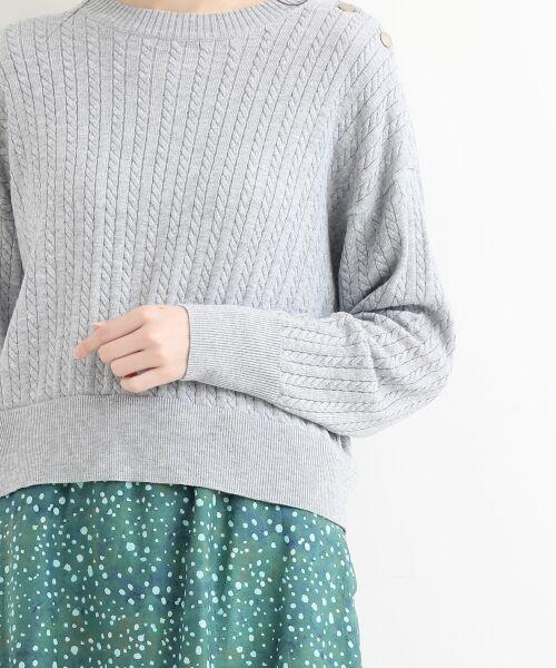 NIMES / ニーム ニット・セーター | ミニケーブル肩釦プルオーバー | 詳細5