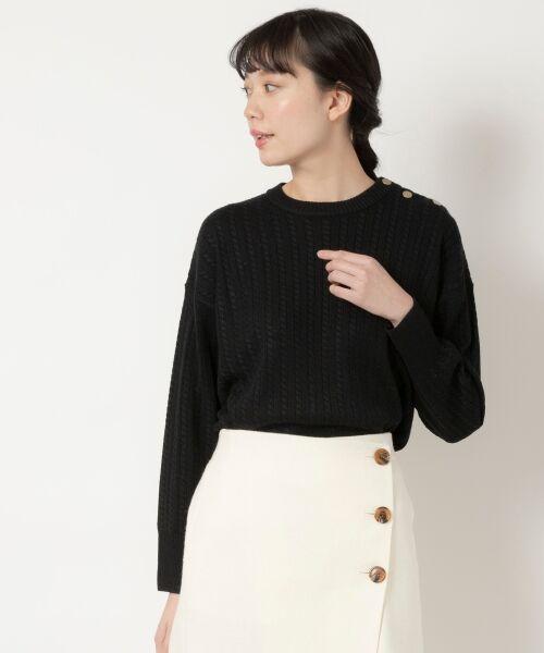 NIMES / ニーム ニット・セーター | ミニケーブル肩釦プルオーバー(ブラック)