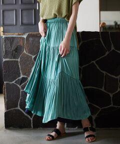 【着回し力抜群!サテン素材のリバーシブルスカート】<br><br>マリン フランセーズ定番のリバーシブルスカートから、<br>トレンド感のあるサテン素材が登場!<br><br>表は切り替えが入ったティアードスカート、<br>裏はシンプルで使いやすいギャザースカートです。<br><br>ギャザーがふんだんに入った贅沢なデザインなので<br>揺れ感が女性らしくとても素敵。<br><br>鮮やかなレンガ/ゴールドとライトグリーン/ネイビー、<br>ベーシックなブラック/カーキ、<br>どの組み合わせでもコーディネートの幅が広がります。<br><br>リバーシブルなので普段選ばないカラーにするのも○<br>手洗い可 ドライクリーニング可 陰干し<br>*デリケートな素材を使用しておりますので保管方法にご注意下さい。<br>*製品洗いを施している為、一点一点について若干風合い・サイズが異なりますがご了承下さい。