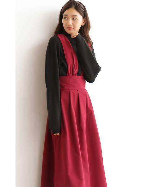 N.Natural Beauty Basic / エヌ ナチュラルビューティーベーシック ワンピース   マキシジャンパースカート(レッド)