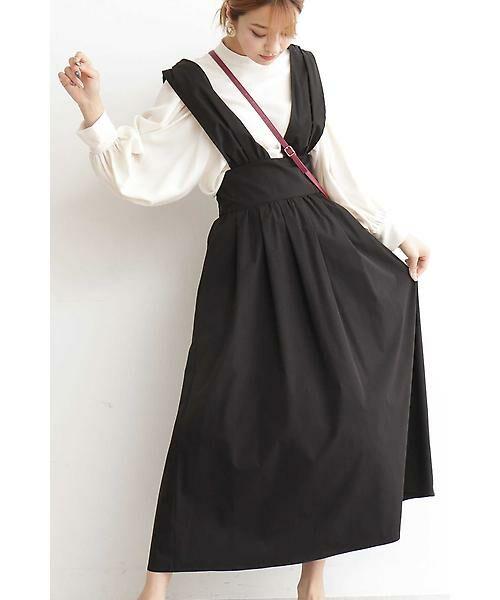 N.Natural Beauty Basic / エヌ ナチュラルビューティーベーシック ワンピース   マキシジャンパースカート(ブラック)