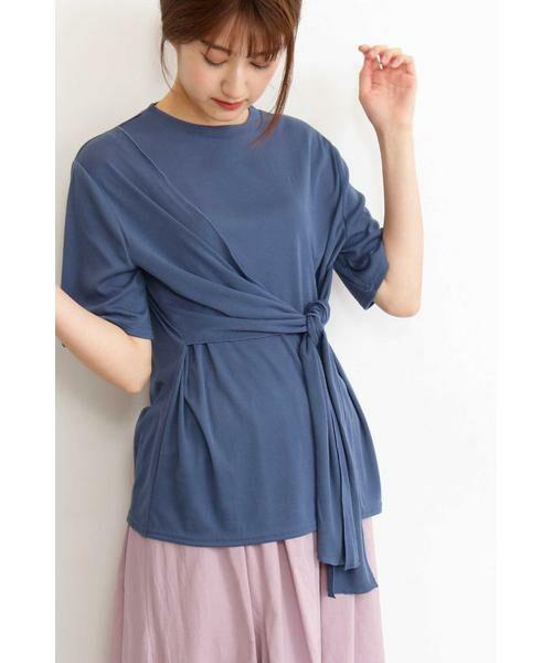 N.Natural Beauty Basic / エヌ ナチュラルビューティーベーシック カットソー | アシンメトリーTシャツ(ブルー)