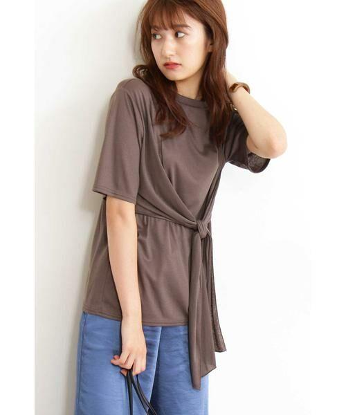 N.Natural Beauty Basic / エヌ ナチュラルビューティーベーシック カットソー | アシンメトリーTシャツ(カーキ)