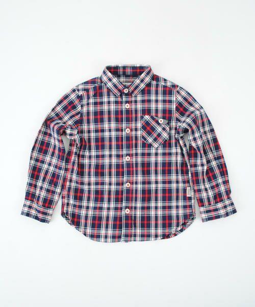 綿チェックデザインポケットシャツ