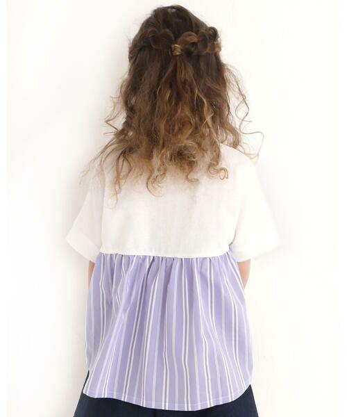 Noeil aime BeBe / ノイユ エーム べべ Tシャツ | ストライプ 切替 半袖 Tシャツ (90~130cm) | 詳細2
