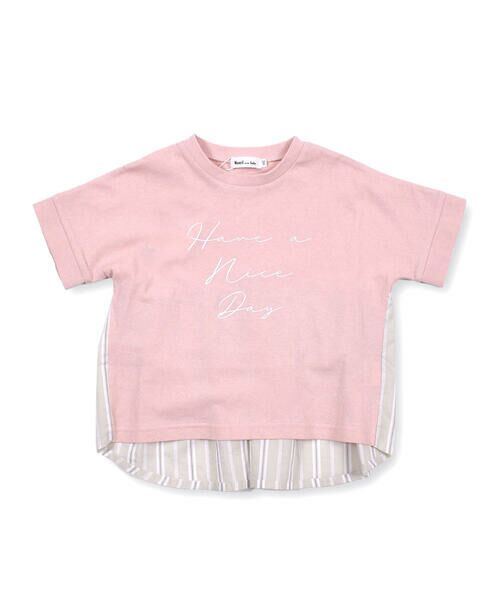 Noeil aime BeBe / ノイユ エーム べべ Tシャツ | ストライプ 切替 半袖 Tシャツ (90~130cm) | 詳細13