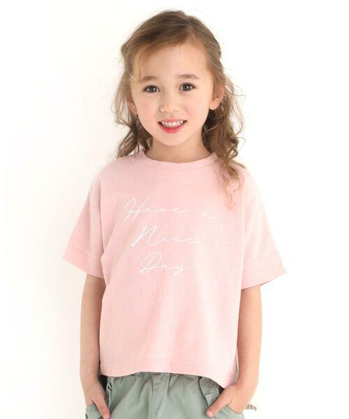 Noeil aime BeBe / ノイユ エーム べべ Tシャツ | ストライプ 切替 半袖 Tシャツ (90~130cm)(ピンク)