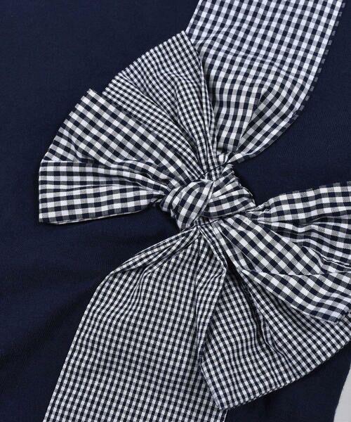 Noeil aime BeBe / ノイユ エーム べべ Tシャツ   ギンガムチェック リボン 付き Tシャツ (80~130cm)   詳細4