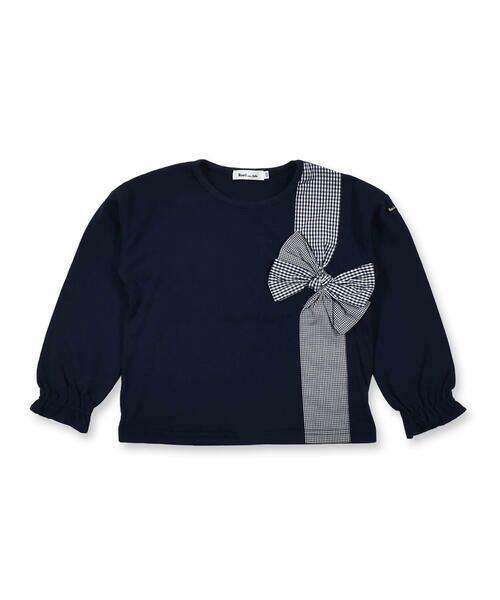 Noeil aime BeBe / ノイユ エーム べべ Tシャツ   ギンガムチェック リボン 付き Tシャツ (80~130cm)(ネイビー)