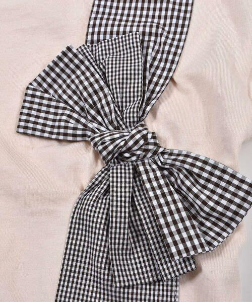 Noeil aime BeBe / ノイユ エーム べべ Tシャツ   ギンガムチェック リボン 付き Tシャツ (80~130cm)   詳細13
