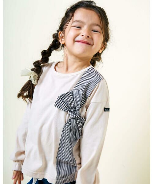 Noeil aime BeBe / ノイユ エーム べべ Tシャツ   ギンガムチェック リボン 付き Tシャツ (80~130cm)(ピンク)