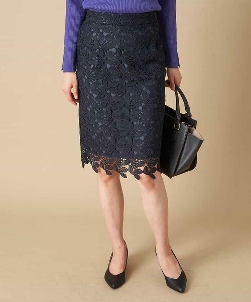 OFUON / オフオン ミニ・ひざ丈スカート | 【洗える】リーフ柄レースタイトスカート(ネイビー)