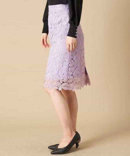 OFUON / オフオン ミニ・ひざ丈スカート | 【洗える】リーフ柄レースタイトスカート | 詳細1