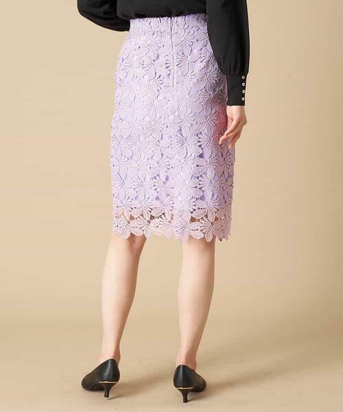 OFUON / オフオン ミニ・ひざ丈スカート | 【洗える】リーフ柄レースタイトスカート | 詳細2