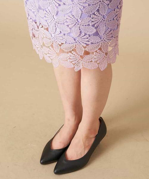 OFUON / オフオン ミニ・ひざ丈スカート | 【洗える】リーフ柄レースタイトスカート | 詳細5