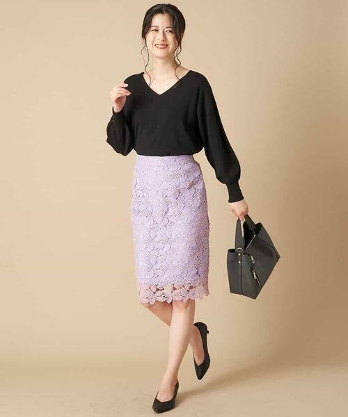 OFUON / オフオン ミニ・ひざ丈スカート | 【洗える】リーフ柄レースタイトスカート | 詳細9