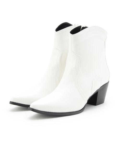 OZOC / オゾック ブーツ(ショート丈)   ショートウエスタンブーツ(オフホワイト(003))