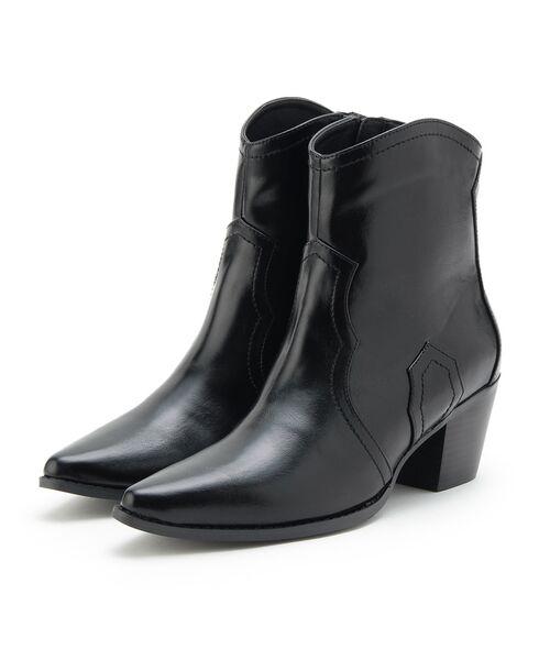 OZOC / オゾック ブーツ(ショート丈)   ショートウエスタンブーツ(ブラック(019))