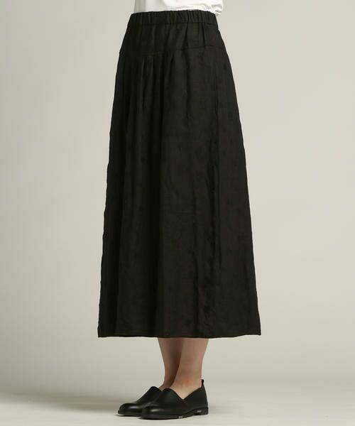Pao・de・lo / パオデロ スカート | 【雑誌掲載】【WEBサイズ別注】リネンドット刺繍スカート(ブラック)