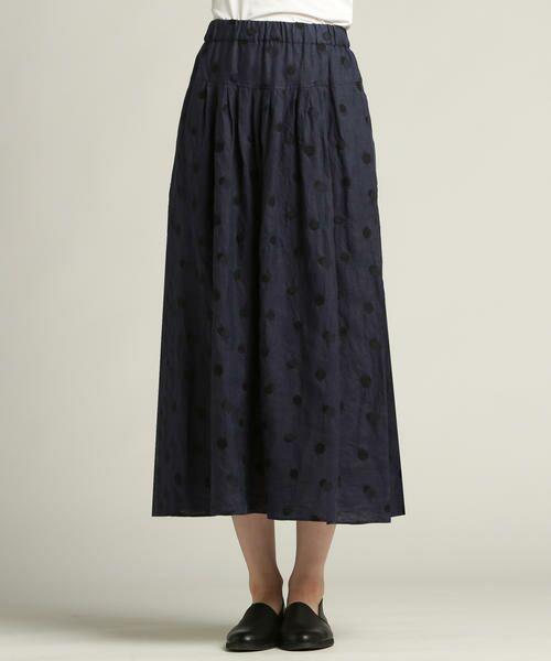 Pao・de・lo / パオデロ スカート | 【雑誌掲載】【WEBサイズ別注】リネンドット刺繍スカート(パープル)