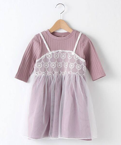 petit main / プティマイン ミニ丈・ひざ丈ワンピース | チュールキャミドッキングワンピース(ラベンダ-)