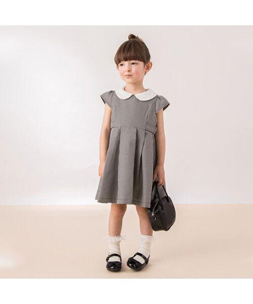 petit main / プティマイン ミニ丈・ひざ丈ワンピース | 衿つきウエスト切り替えワンピース(マルチ)