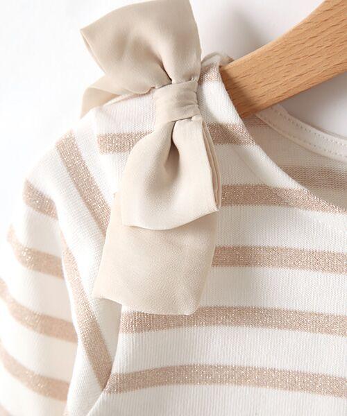 petit main / プティマイン Tシャツ | スカラップラメボーダー肩リボンTシャツ | 詳細1