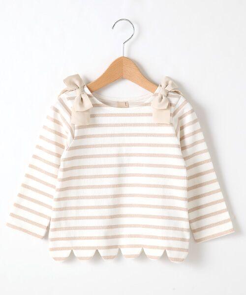 petit main / プティマイン Tシャツ | スカラップラメボーダー肩リボンTシャツ(ピ-チ)