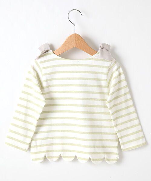petit main / プティマイン Tシャツ | スカラップラメボーダー肩リボンTシャツ | 詳細2