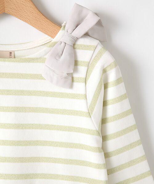 petit main / プティマイン Tシャツ | スカラップラメボーダー肩リボンTシャツ | 詳細3
