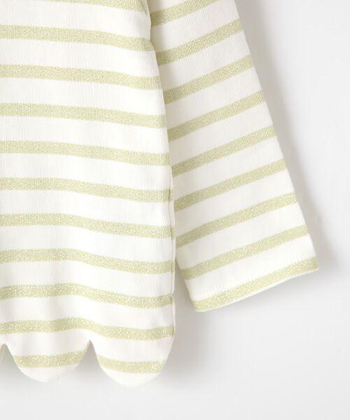petit main / プティマイン Tシャツ | スカラップラメボーダー肩リボンTシャツ | 詳細4