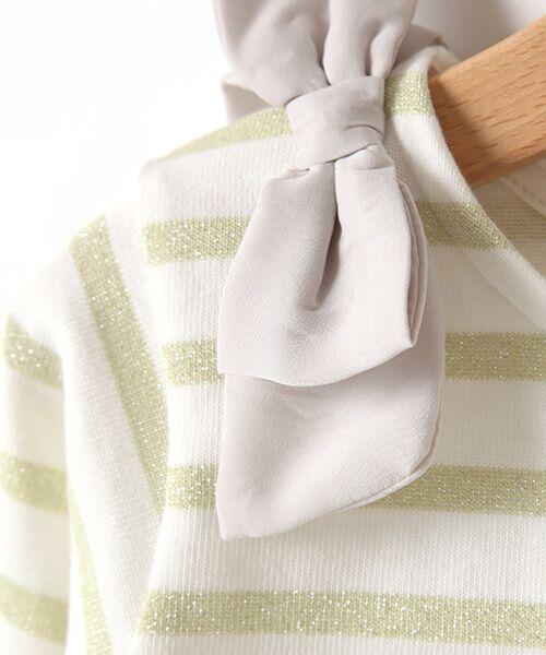 petit main / プティマイン Tシャツ | スカラップラメボーダー肩リボンTシャツ | 詳細5