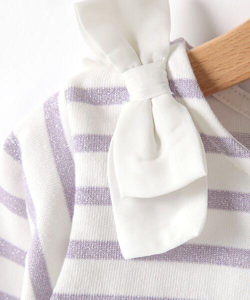 petit main / プティマイン Tシャツ | スカラップラメボーダー肩リボンTシャツ | 詳細6