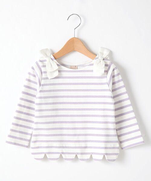petit main / プティマイン Tシャツ | スカラップラメボーダー肩リボンTシャツ(ラベンダ-)