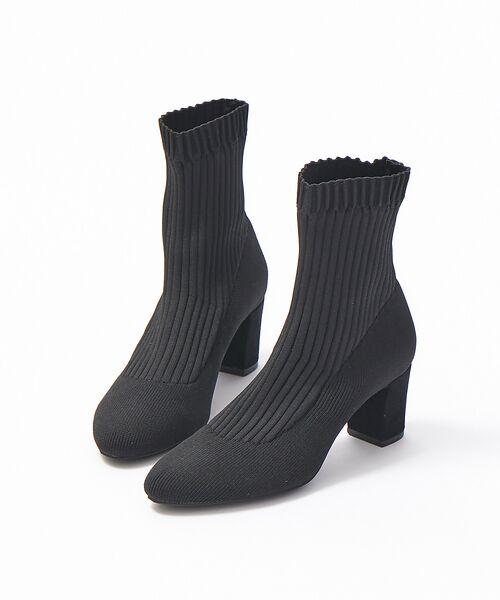 PICHE ABAHOUSE / ピシェ アバハウス ブーツ(ショート丈) | リブ編みソックスブーツ(ブラック)
