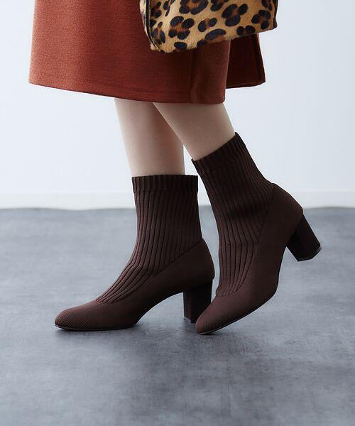 PICHE ABAHOUSE / ピシェ アバハウス ブーツ(ショート丈) | リブ編みソックスブーツ | 詳細13