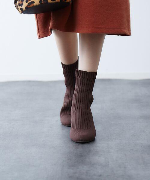 PICHE ABAHOUSE / ピシェ アバハウス ブーツ(ショート丈) | リブ編みソックスブーツ(ダークブラウン)