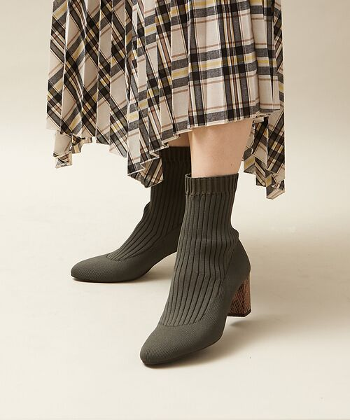 PICHE ABAHOUSE / ピシェ アバハウス ブーツ(ショート丈) | リブ編みソックスブーツ | 詳細19