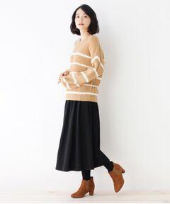 【セットアイテム】Vネックニット+ギャザースカート