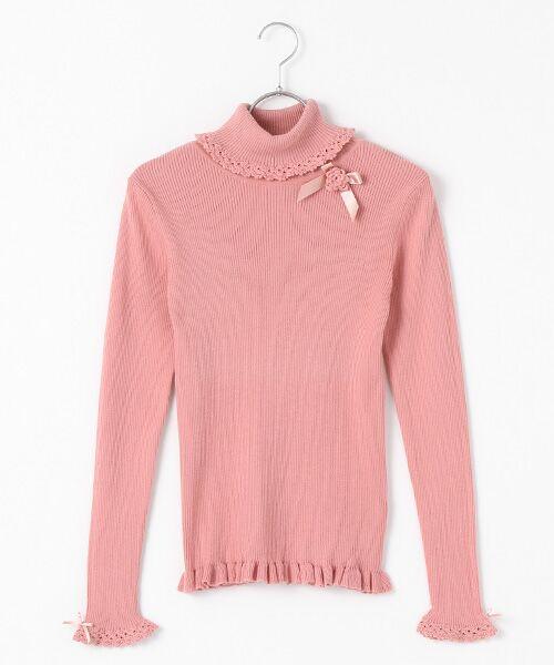 PINK HOUSE / ピンクハウス ニット・セーター | フラワーモチーフ付き綿タートルニット(ピンク)