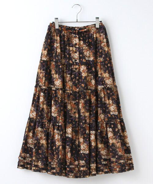 バイアスブーケプリントスカート