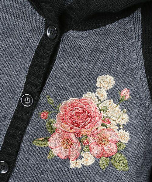 PINK HOUSE / ピンクハウス カーディガン・ボレロ   イングリッシュローズ刺繍入りフード付きニットカーディガン   詳細1