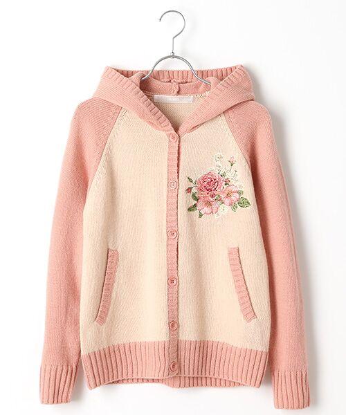 PINK HOUSE / ピンクハウス カーディガン・ボレロ   イングリッシュローズ刺繍入りフード付きニットカーディガン(ピンク×ピンクベージュ)