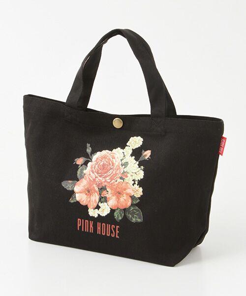PINK HOUSE / ピンクハウス トートバッグ | 【アウトレット】ピンクハウスアーカイブプリントトートバッグ(イングリッシュローズ・クロ)