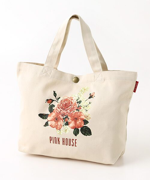 PINK HOUSE / ピンクハウス トートバッグ | 【アウトレット】ピンクハウスアーカイブプリントトートバッグ(イングリッシュローズ・キナリ)