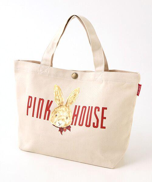 PINK HOUSE / ピンクハウス トートバッグ | ピンクハウスアーカイブプリントトートバッグ(顔ウサギ・キナリ)