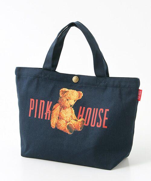 PINK HOUSE / ピンクハウス トートバッグ | ピンクハウスアーカイブプリントトートバッグ(くったりクマ・杢ネイビー)