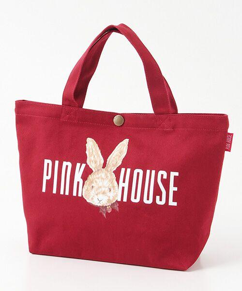 PINK HOUSE / ピンクハウス トートバッグ | ピンクハウスアーカイブプリントトートバッグ(顔うさぎ・アカ)